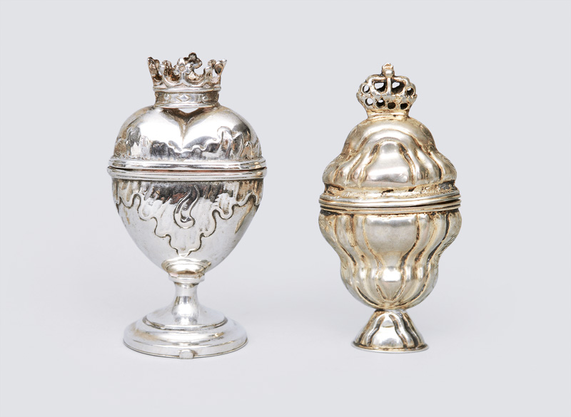 Two fragrances jars with crowns