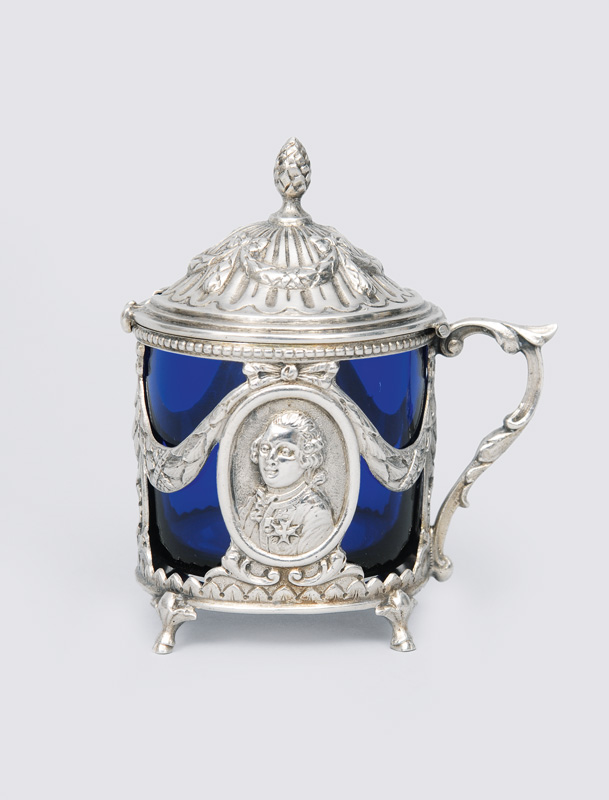 A small mustard pot with Louis-Seize ornaments