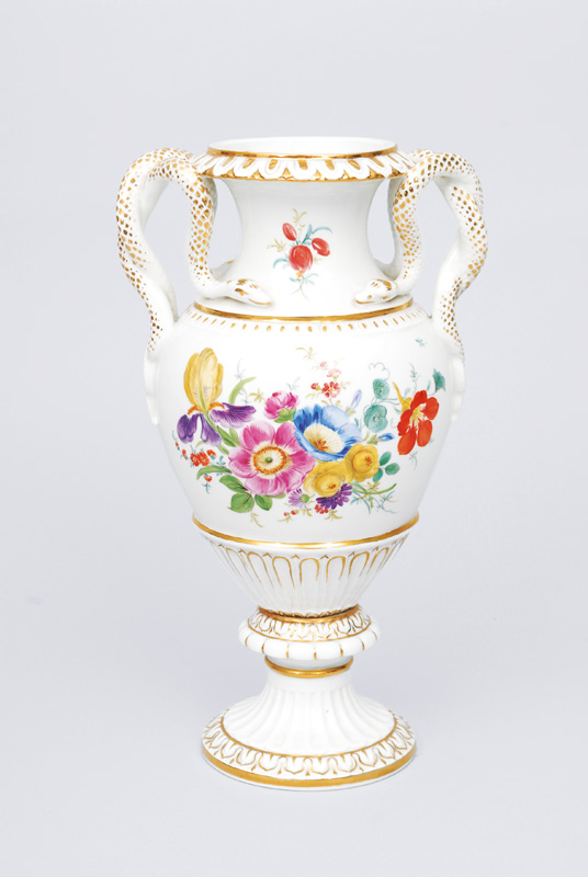 A double snake handle vase with fine flower painting