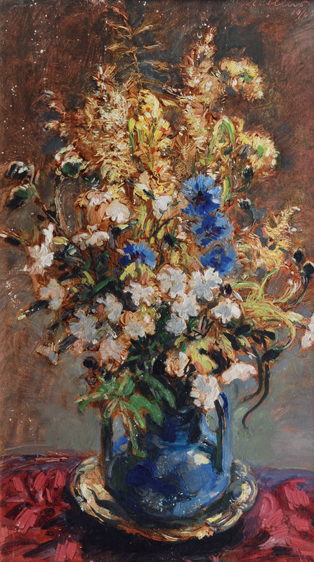 Field Flowers in a Blue Vase