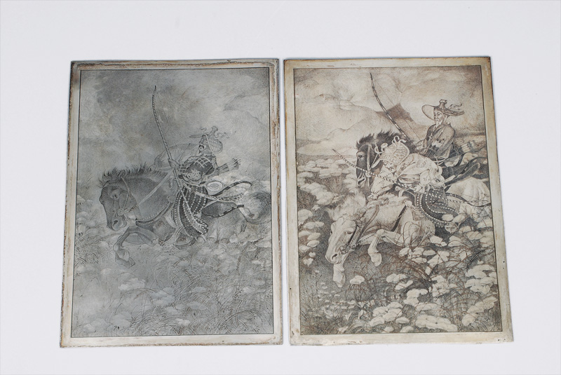 A pair of printing plate with equestrian scenes