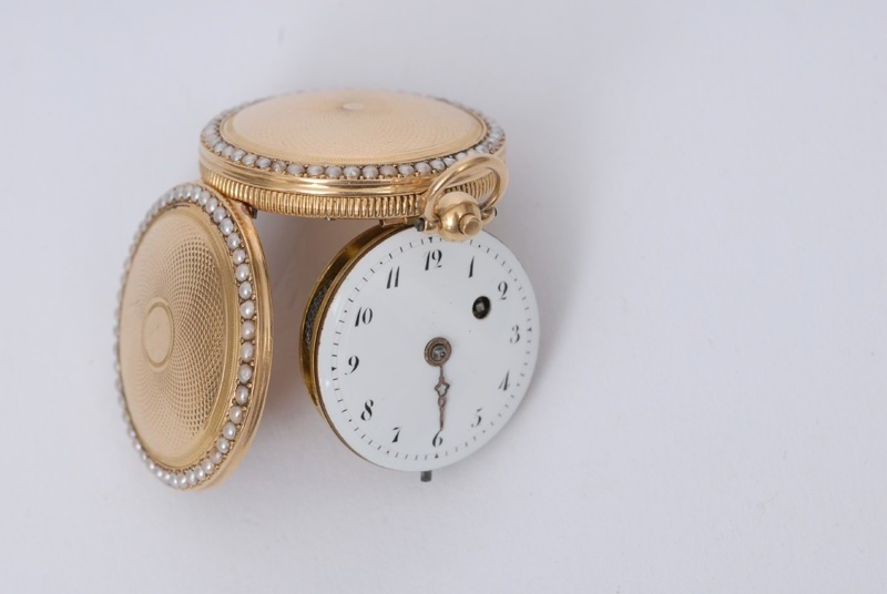 "A lady""s verge pocket watch with seed perls"