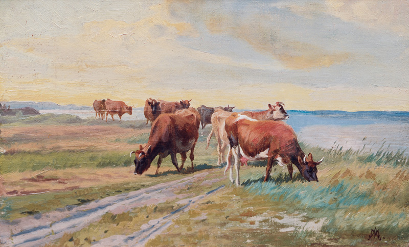 Grazing Cows on the Riverbank