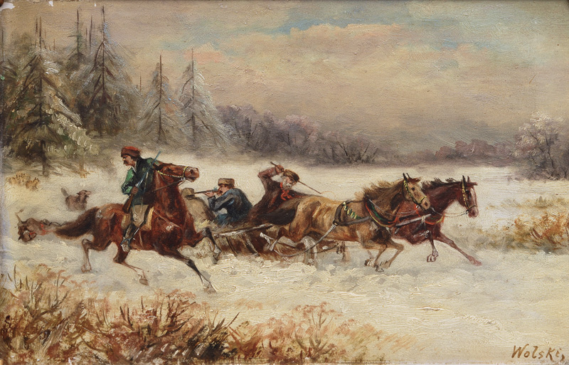 Pair of Paintings with Horse-Drawn Sleighs