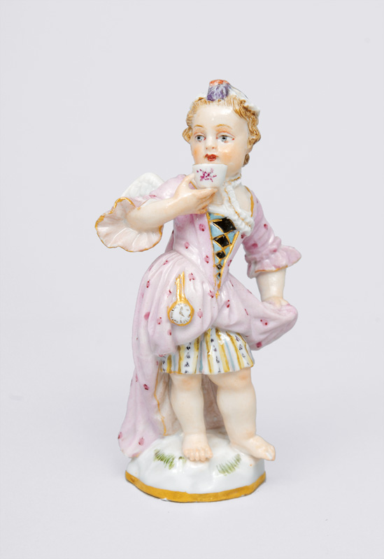 "A figurine ""Small disguised  Amoretto with a tea bowl"""