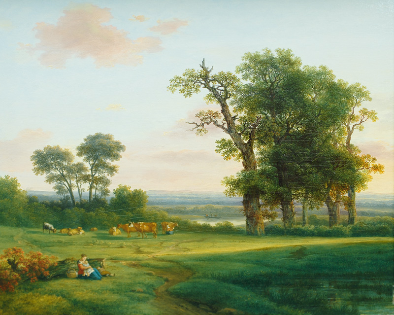 Pasture Landscape with young Mother and Child