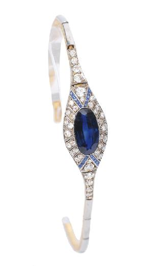 A fine Art-déco sapphire bracelet with diamonds