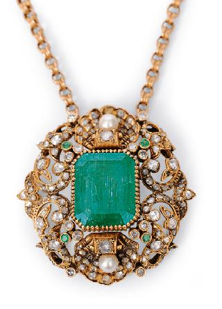 A russian emerald diamond pendant with necklace