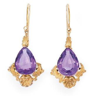 A pair of Victorian amethyst earrings