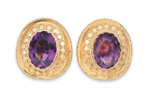 A pair of Victorian amethyst earstuds