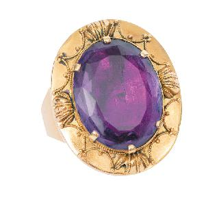 A large Victorian amethyst ring