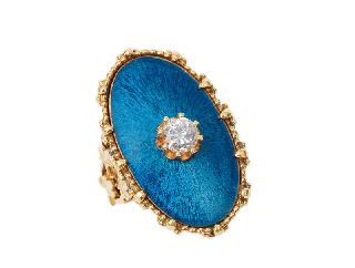 A large enamel diamond ring in Victorian style