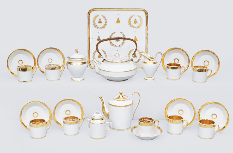 A rare Empire coffee and tea service with gilded decoration
