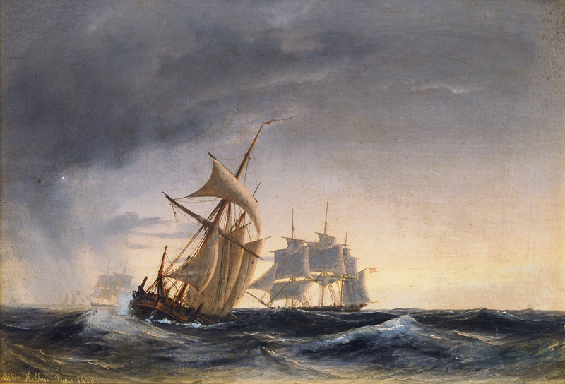 Sailing Ships in stormy Sea