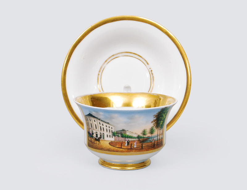 "A cup with fine painted view of Hamburg""s Jungfernstieg"