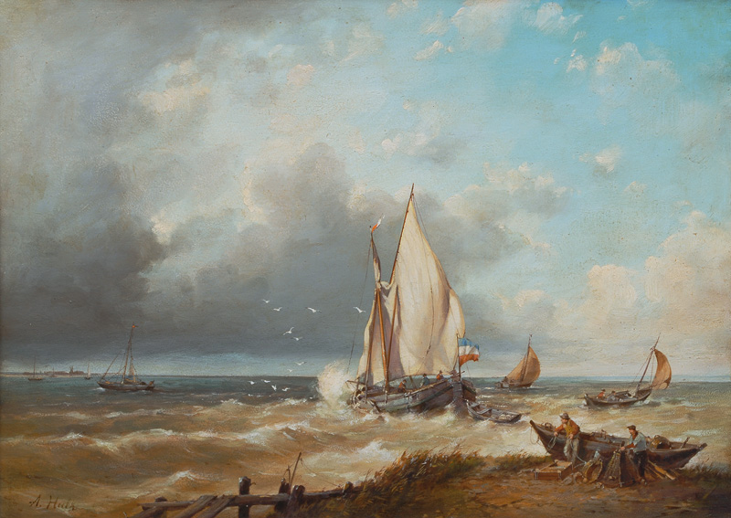 Dutch Fisherboats in the Surf