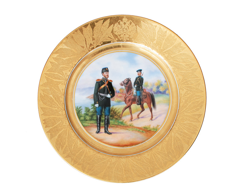 A Russian pompouse plate of a military service of Nicholas II.