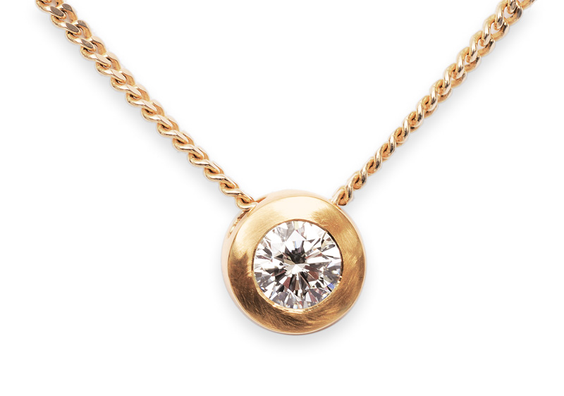 A solitaire diamond necklace