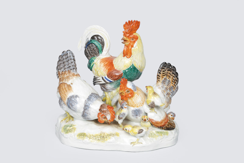 "A figurine group ""cock family"""