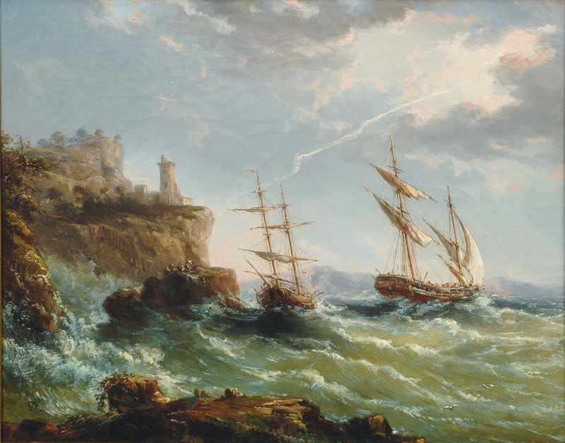 Sailing Ships in a Thunderstorm off the English Coast