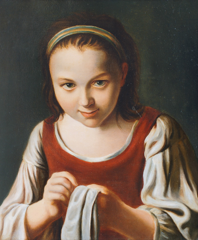 Girl doing Needlework