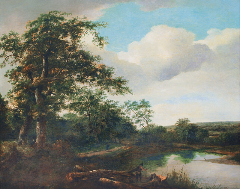 Landscape with a Pond in a Forest and an Angler