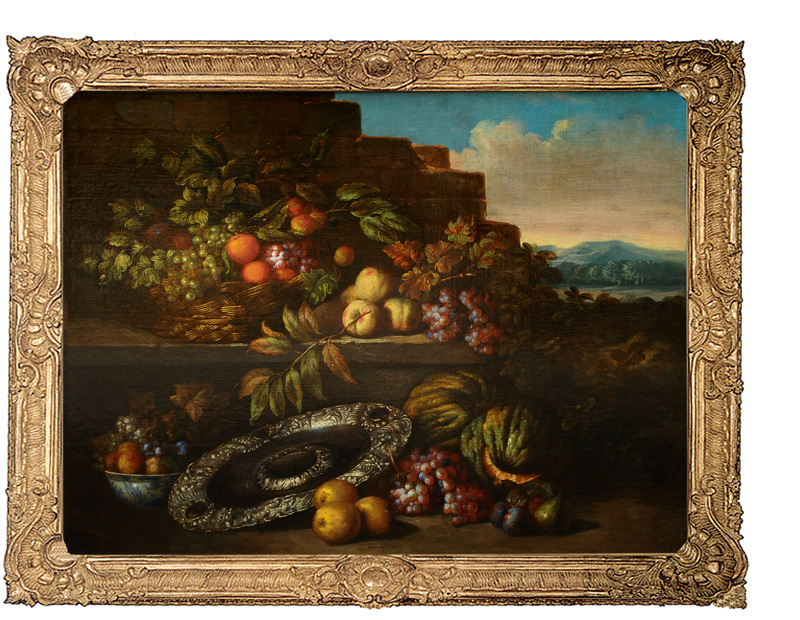 Table Still Life with Fruits and a silver Dish