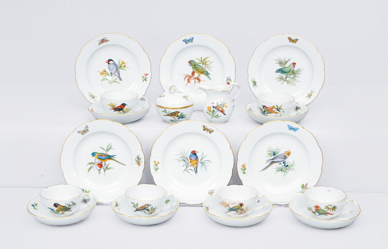 "A tea service ""exotic birds and insects"" for 6 persons"