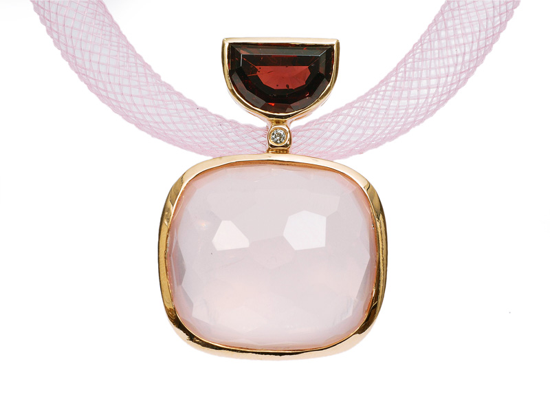 A rose quartz pendant