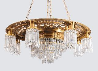 A very large Art-Nouveau ceiling light with cristall glass