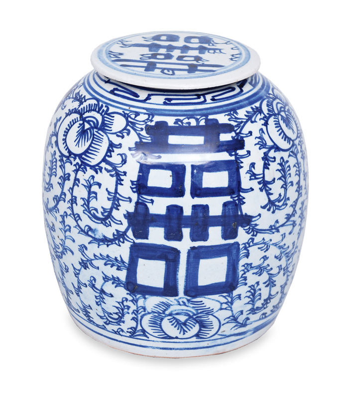 A storage vessel with blue floral painting