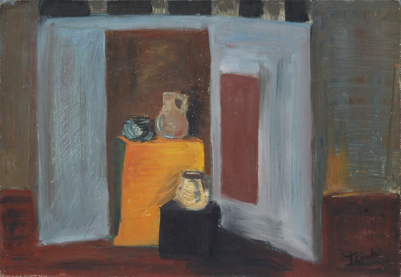 Still Life with Jars on a yellow Cloth
