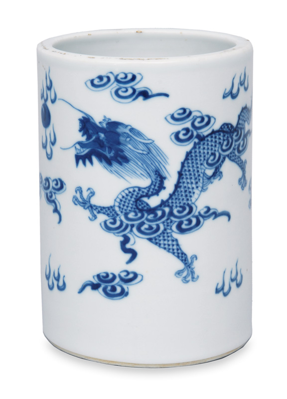 Brush pot with dragons