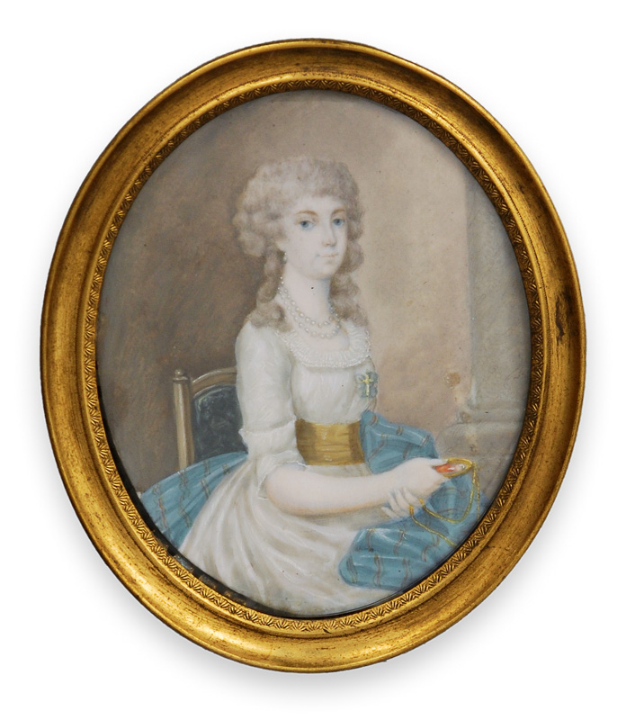 "A Georgian miniature portrait ""Young lady with blue scarf"""