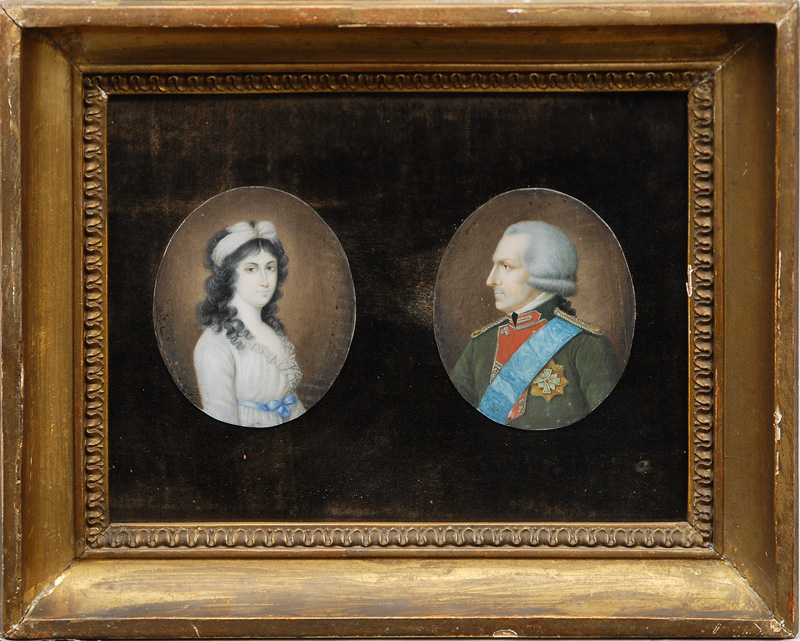 "A pair of miniature portraits ""Officer"" and ""Lady"""