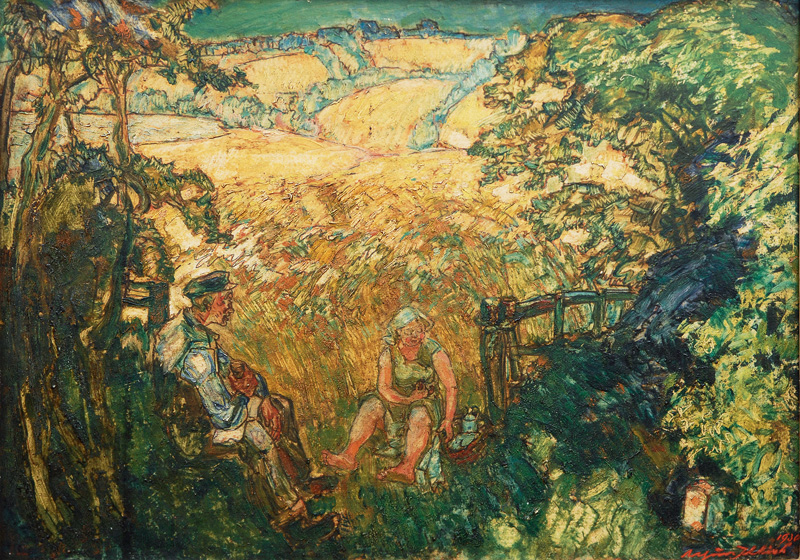 Resting Couple in a Midsummer Landscape