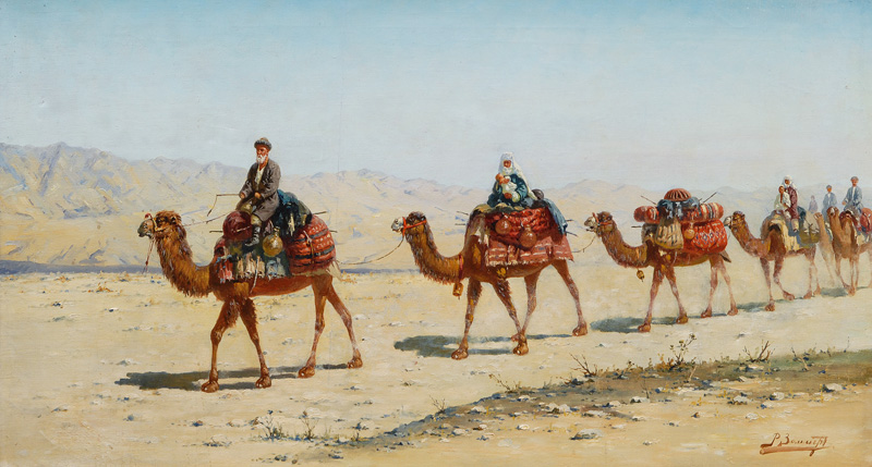 Camel Caravan with travelling Family
