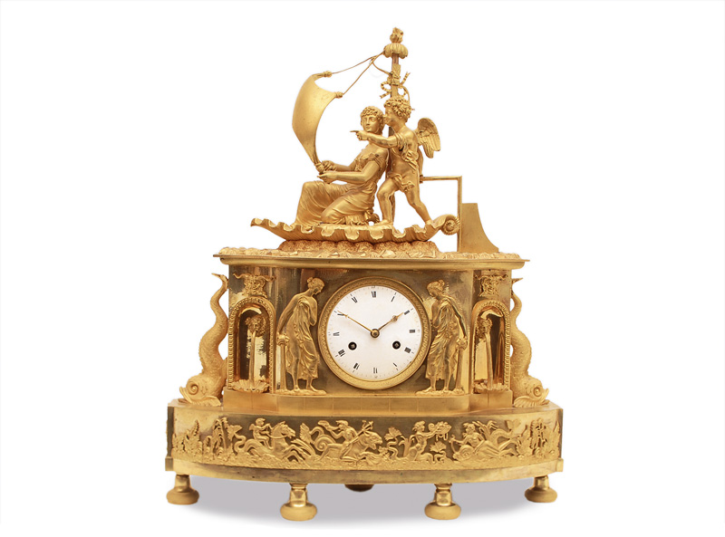 A splendid and extraordinary Empire mantle clock with aphrodite and cupid