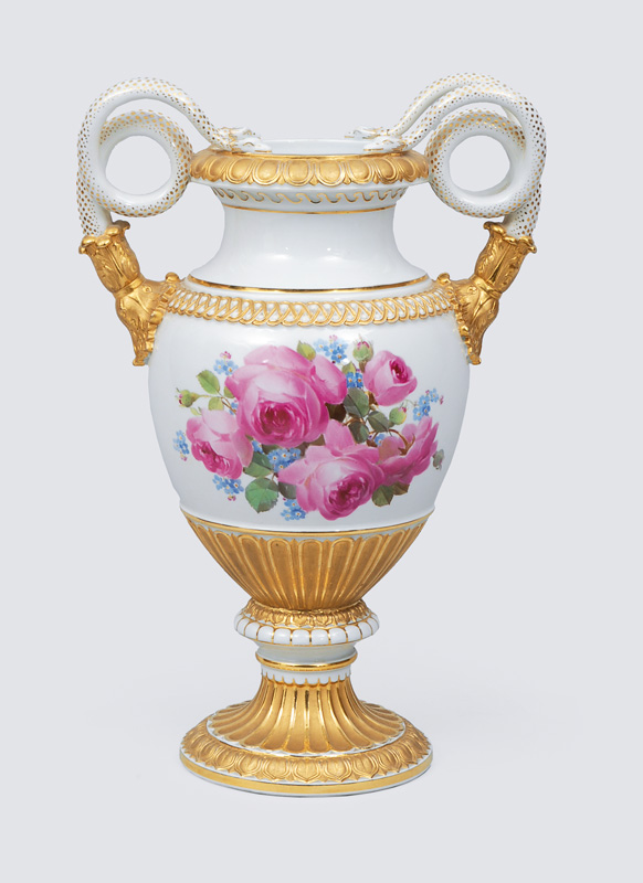 A vase with double snake-shaped handles and fine painted bouquet