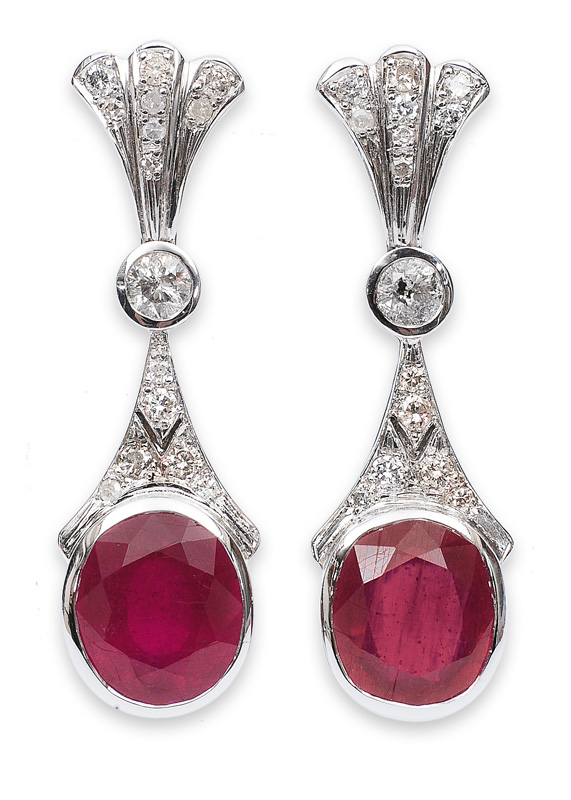 A pair of ruby earrings