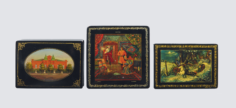 A convolut of 3 lacquer boxes with paintings