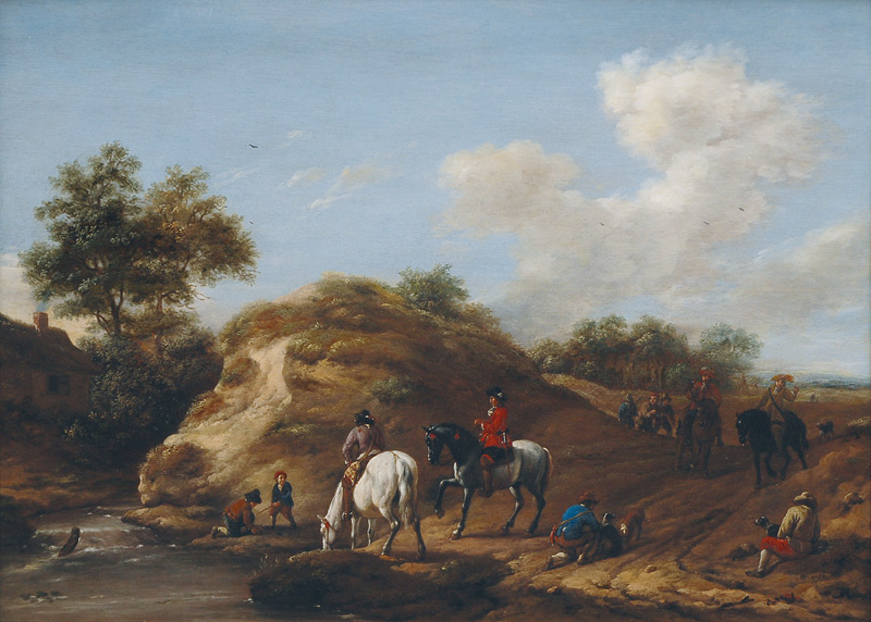 Landscape with Equestrians and Falconers by a River