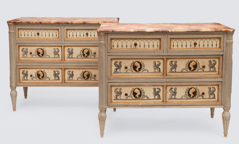 A Louis Seize chest of drawers with ornaments of sphinges and pharaohs