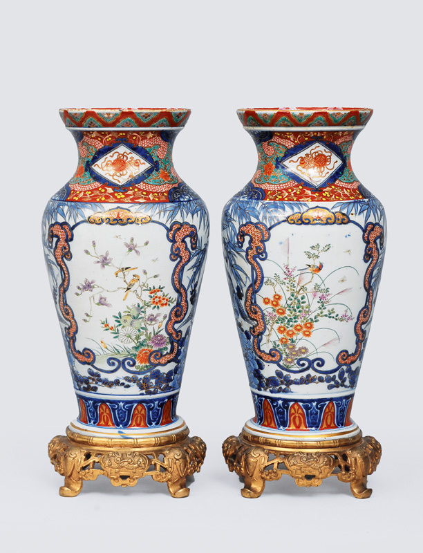 A pair of Imari vases with bronze mounting