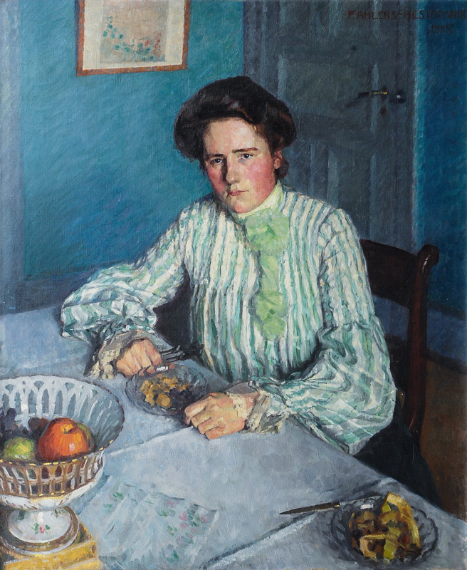 Gertrud, the Sister of the Artist at a table