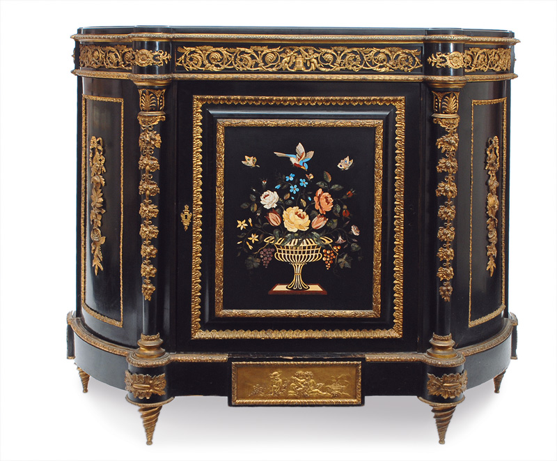 A Napoleon III cabinet with Pietra Dura ornament