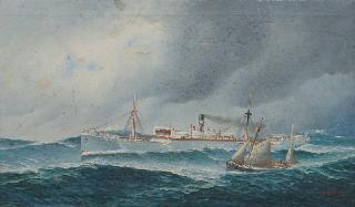 Portrait of the Steamship Helene Menzell with a Pilot Boat