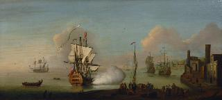 English and Dutch Ships in a mediterranean harbour