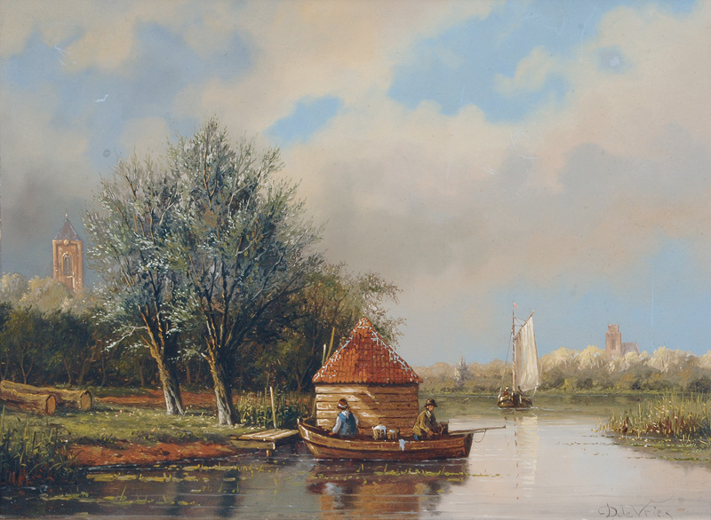Idyllic River Landscape with Anglers