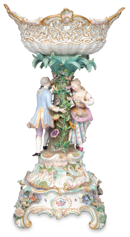 A pompous centre piece with a rococo couple and base